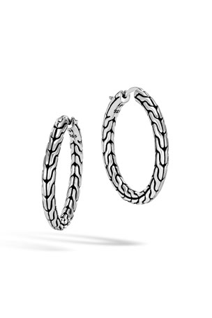 John Hardy Classic Chain Medium Sterling Silver Hoop Earrings