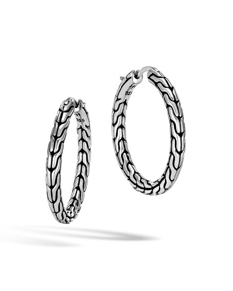 John Hardy Classic Chain Medium Sterling Silver Hoop