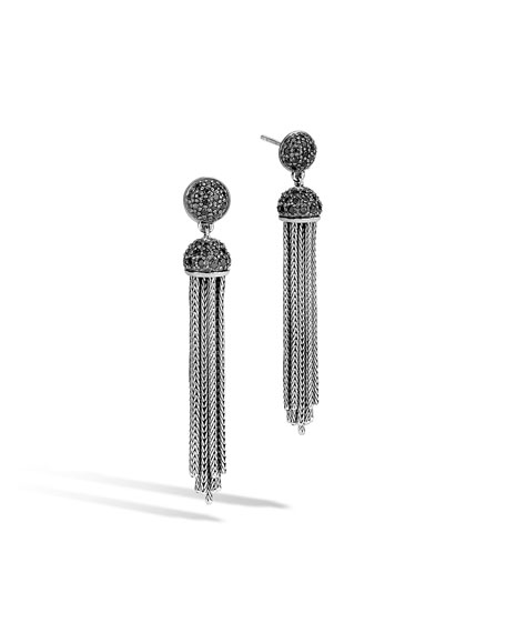 John Hardy Classic Chain Tassel Earrings with Black