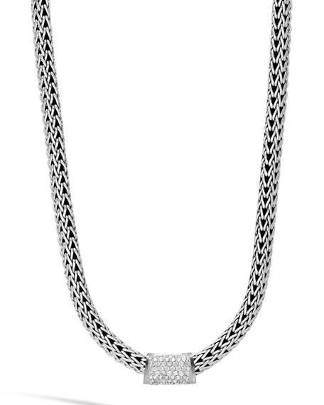 Classic Chain Sterling Silver & Diamond Slider
