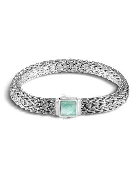 Classic Chain Silver Medium Reversible Bracelet with Black Sapphire and Emerald