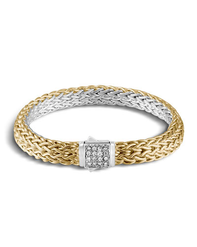 Classic Chain Reversible 18K Gold Bracelet & Sterling Silver Bracelet with Diamond Station