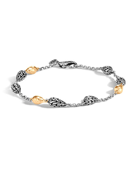 John Hardy Classic Chain Hammered Station Bracelet