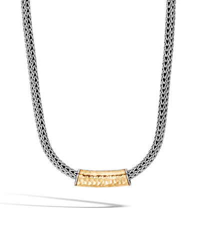 Classic Chain Hammered 18K & Sterling Silver Necklace