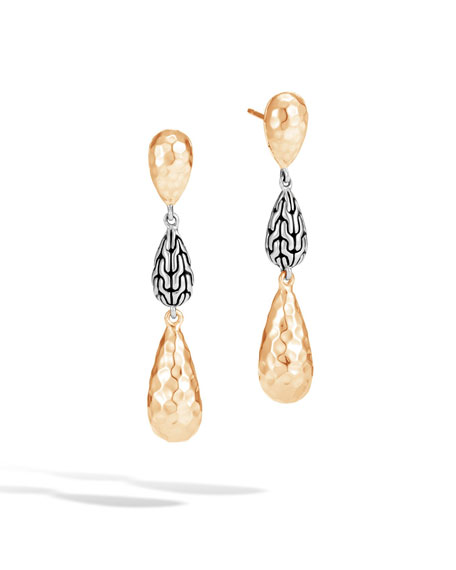 Classic Chain Hammered Teardrop Earrings