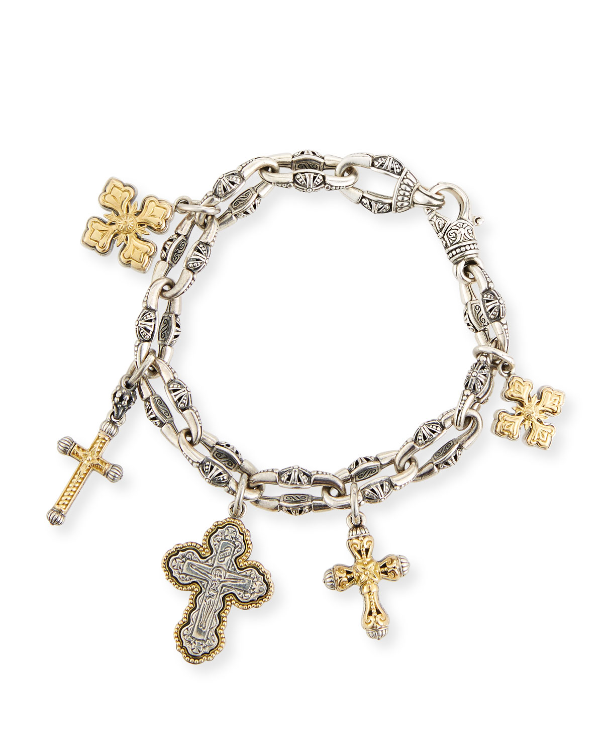 Cross Charm Bracelet: Konstantino Sterling Silver & 18K Gold Cross Charm