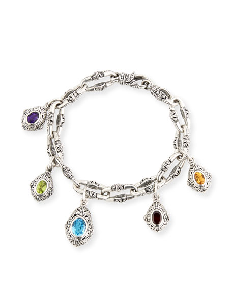 Konstantino Egg Charm Bracelet with Blue Topaz