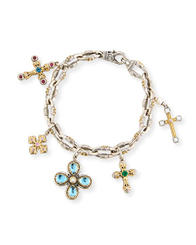 Cross Charm Bracelet with Blue Topaz & Pearls