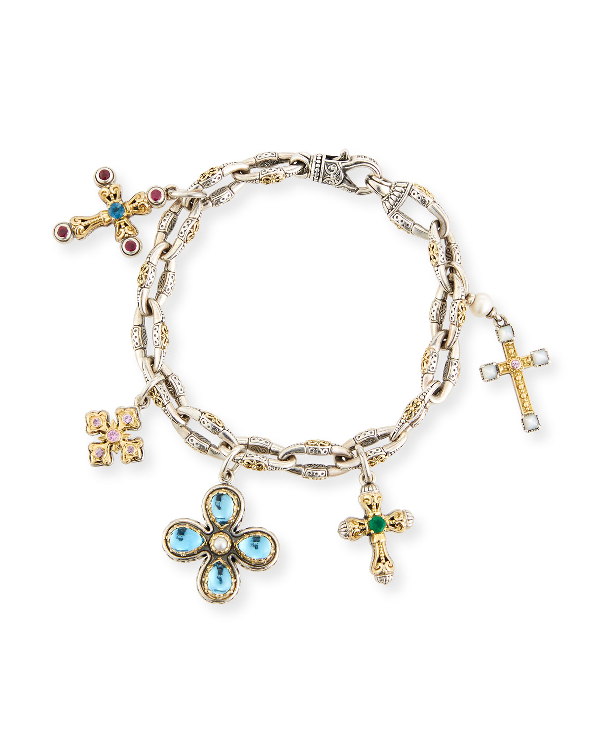 Cross Charm Bracelet With Blue Topaz Pearls