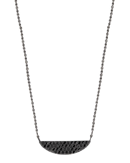 Reckless 14K Black Gold Crescent Necklace with Black Diamonds