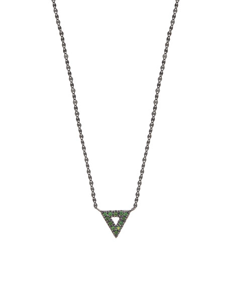 Electric 14K Black Gold Mini Spike Charm Necklace with Green Tsavorite