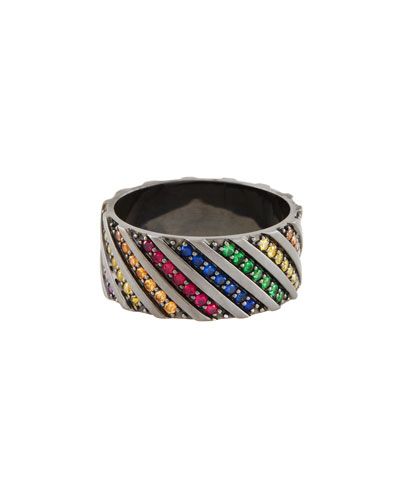Electric Rainbow Sapphire Band Ring in 14K Black Gold