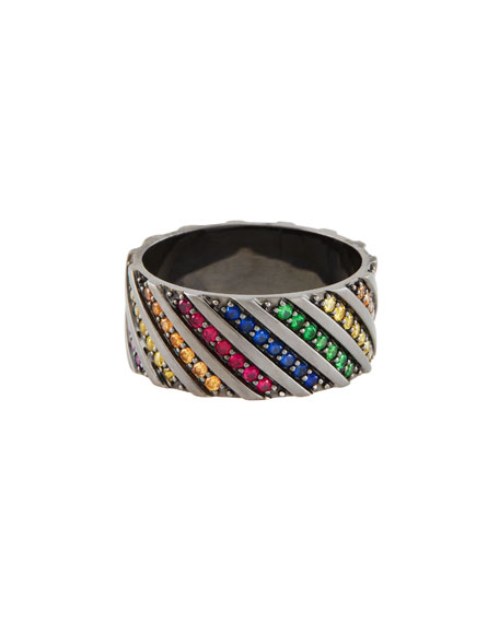 LANA Electric Rainbow Sapphire Band Ring in 14K