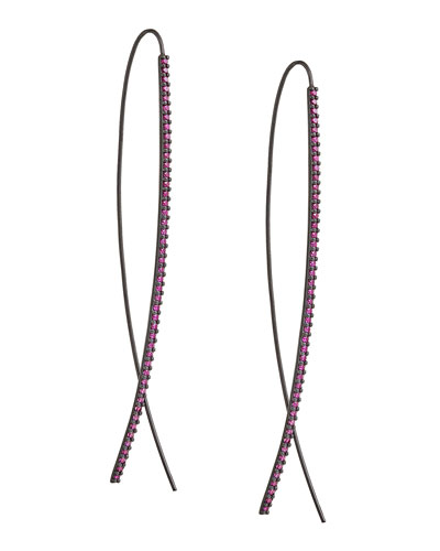 Slim Upside Down 14K Black Gold Hoop Earrings with Pink Sapphires