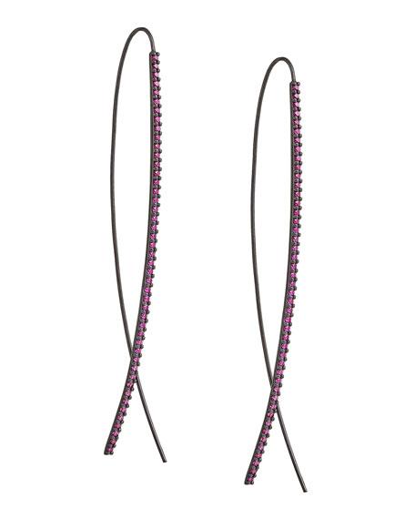 Slim Upside Down 14K Black Gold Hoop Earrings with Pink Sapphires