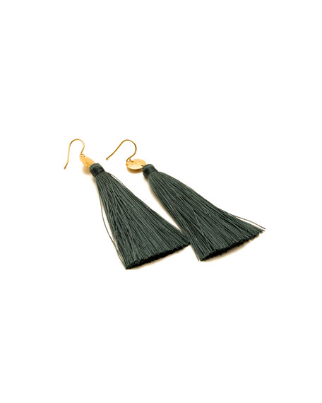 Leaucadia Green Tassel Earrings