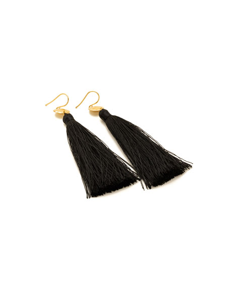 Leaucadia Black Tassel Earrings