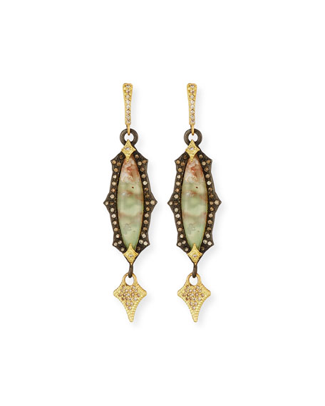 Old World Scalloped Aquaprase Cabochon Earrings with Diamonds
