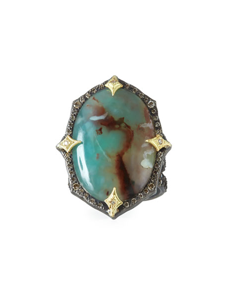 Armenta Old World Aquaprase Oval Cabochon Ring with