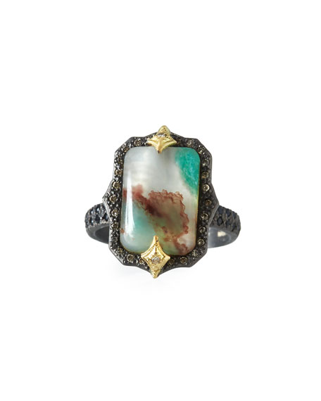 Armenta Old World Aquaprase Emerald-Shaped Cabochon Ring with
