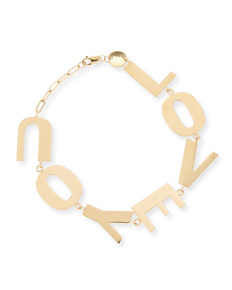 Jennifer Zeuner Love You Bracelet in 18K Gold