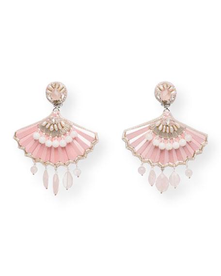 Noelle Rose Quartz Statement Clip-On Earrings