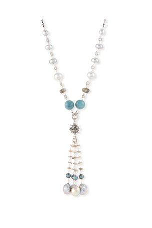 Stephen Dweck Beaded Labradorite, Aquamarine & Pearl Necklace, 32""