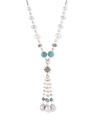 Beaded Labradorite, Aquamarine & Pearl Necklace, 32