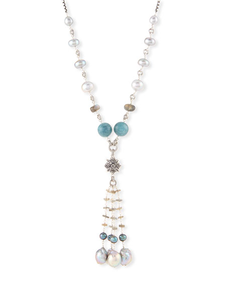 Beaded Labradorite, Aquamarine & Pearl Necklace, 32""