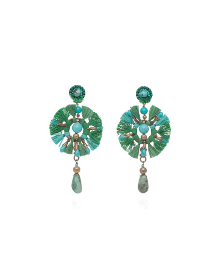 Beaded Fringe Fan Clip-On Earrings