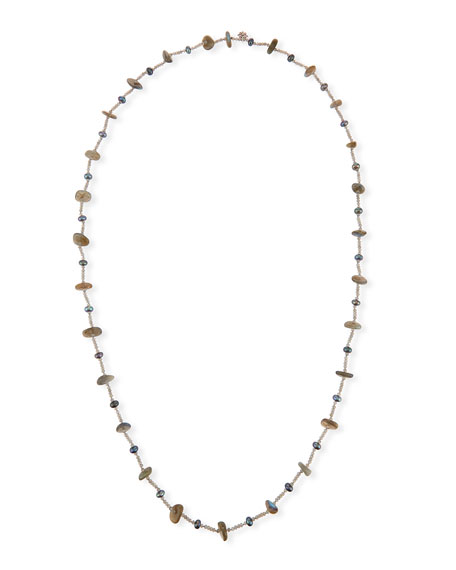 Pearl & Labradorite Beaded Station Necklace, 44""