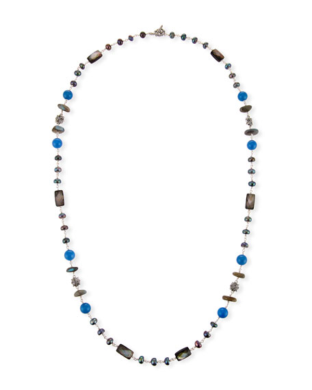 Pearl & Blue Agate Beaded Station Necklace, 32""
