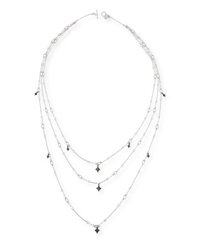 New World Triple-Strand Crivelli Necklace with Diamonds