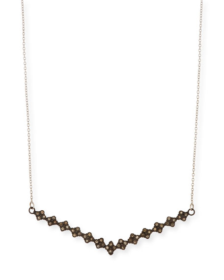 New World V Bar Necklace with Champagne Diamonds