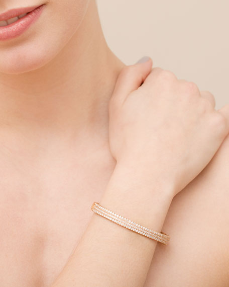 Image 2 of 2: Jamie Wolf Hinged Scalloped White Diamond Bracelet in 18K Rose Gold