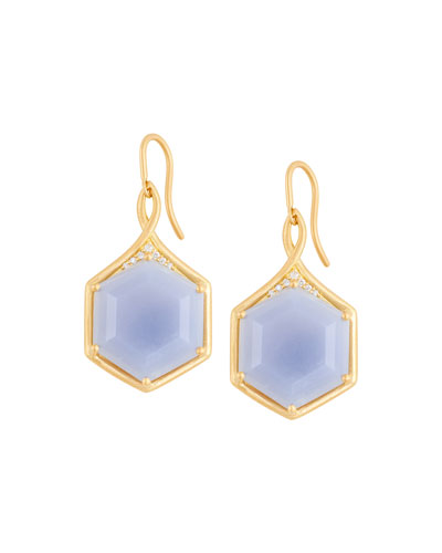 Mosaic Hexagon Drop Earrings with Blue Chalcedony & White Diamonds