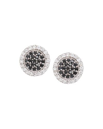 Scallop Pavé Black & White Diamond Earrings