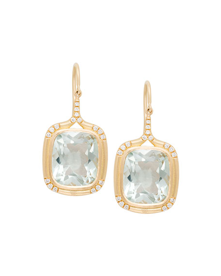 Cushion-Cut Green Amethyst Drop Earrings with Diamonds