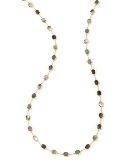 Polished Rock Candy Confetti Station Necklace in Black Shell, 36""