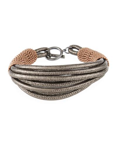 Strappy Leather and Monili Bracelet