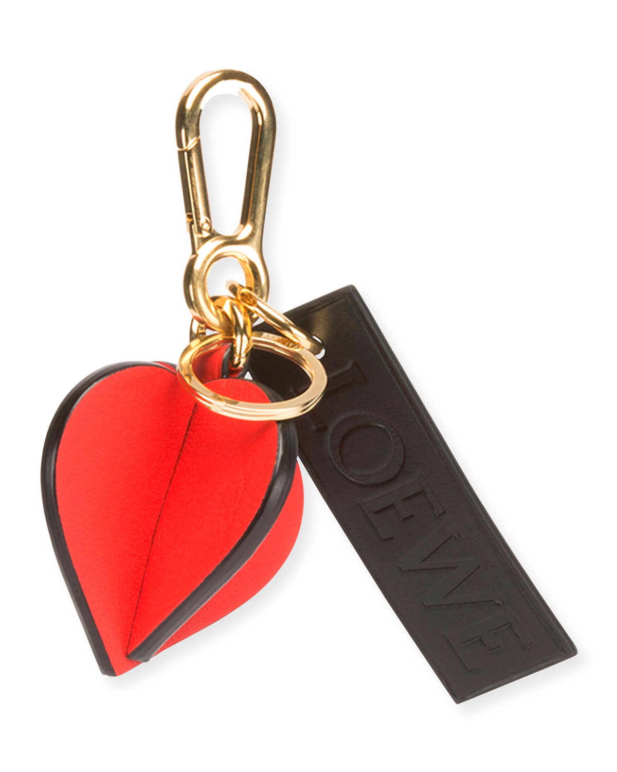 Loewe Heart Charm Bag Accessory in Red and Black Calfskin and Brass QUBFxSv