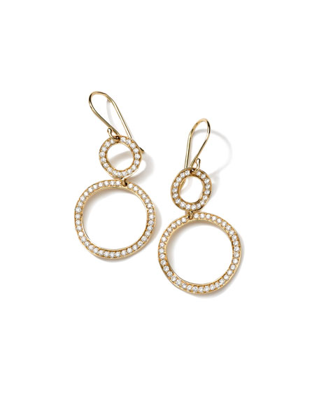 Ippolita Stardust Mini Open Snowman Gold Pave Earrings