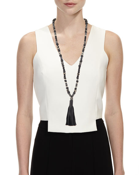 Ana Leather Tassel Necklace