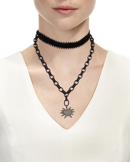 Many Star Necklace with Velvet Ties