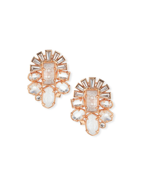 Kendra Scott Huckaby Crystal Statement Earrings in Rose-Tone