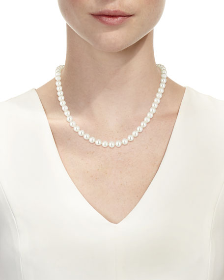 8mm White Simulated Pearl Necklace, 18""
