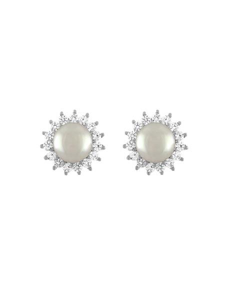 Majorica Simulated Pearl Crystal-Halo Earrings