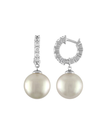 12mm White Pearl & CZ Drop Earrings