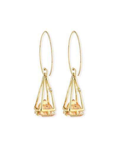 Floating Crystal Wire Drop Earrings