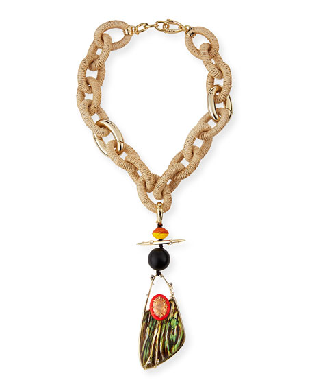 Raffia Link Charm Necklace